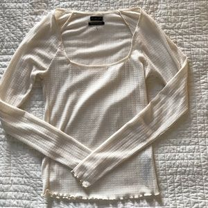 URBAN OUTFITTERS/OUT FROM UNDER CREAM SQUARE NECK